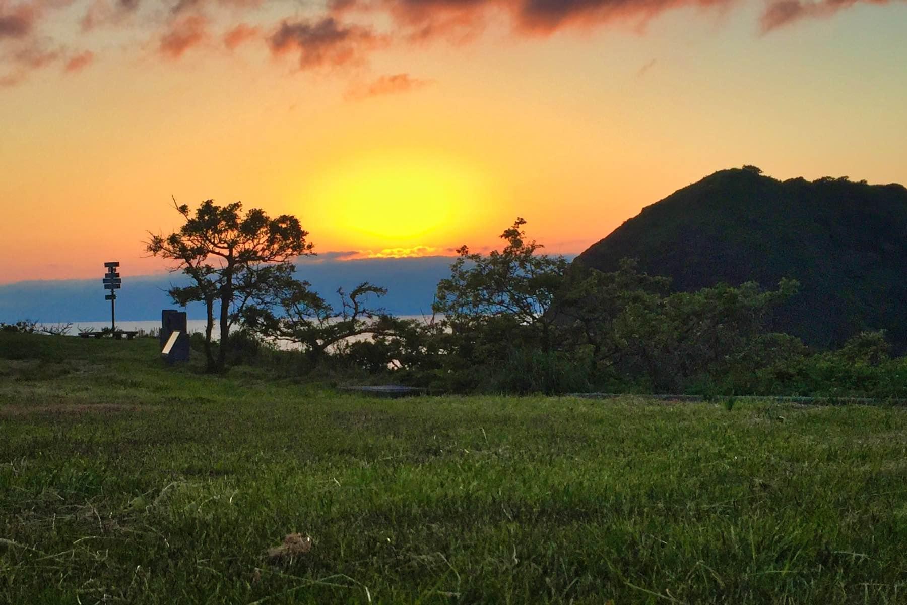 二ツ亀キャンプ場からの夕陽