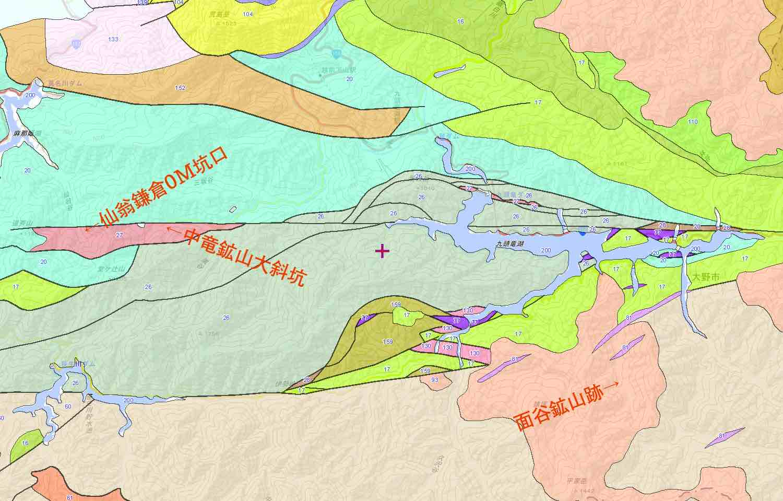 福井県大野市地質図と鉱山跡